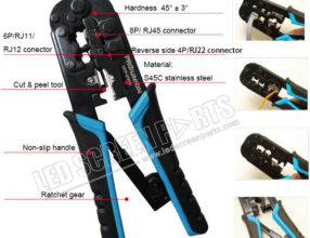 Crimping Tool for 4P6P8P, RJ-11RJ-12RJ-45 Network and Telephone Cables - Modular Telecom Crimping Tool Network Cable Pliers Ratchet Crimping Pliers