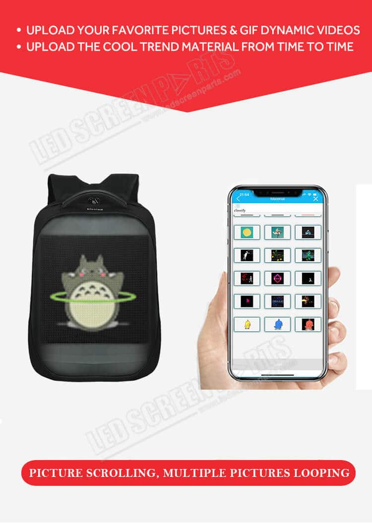 Pix interactive animated led backpack