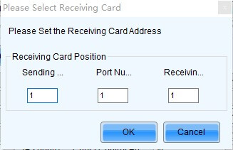 When you click to read from receiving card, you will see this interface, from this interface, you can select the number of receiving card, output, and sending controller.