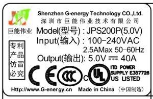 G-energy-JPS200P lable