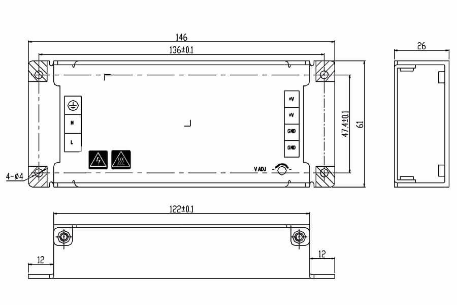 HWA304V2-S-HWA304V6-S HWAWAN LED Display Power Supply-Size