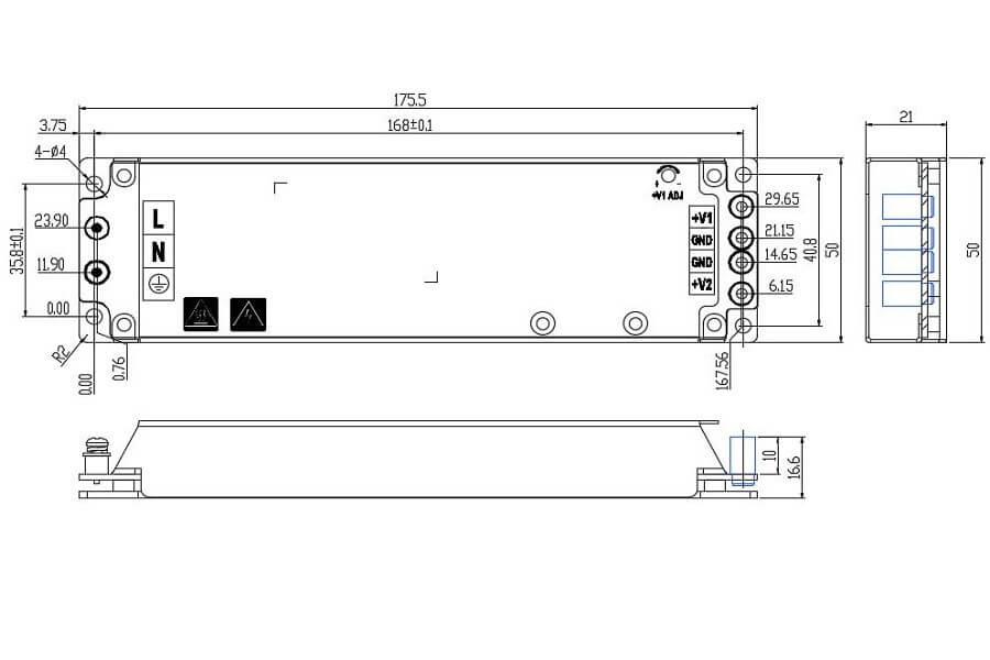 HWA503V8-2S- HWAWAN Power Common Cathode Power Supply size