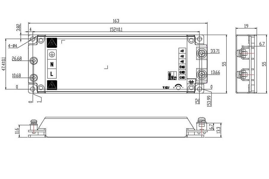 HWT-454V2F-SS-HWT-454V6F-SS HWAWAN Power Switching Power Supply-size