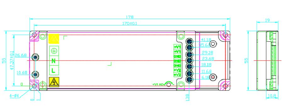 HWT-503V8-2S-HWAWAN Power Common Cathode Power Supply size